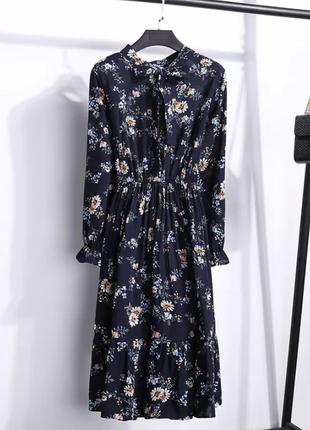 Скидка! акция! темно-синее платье миди шифоновое весна-лето цветочный принт сукня міді