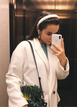 Обруч ободок для волос чалма бархат косичка белый новый качественный