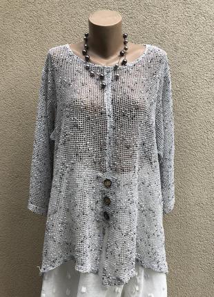 Ассиметрия,серая,пляжная,летняя блузка-сетка,этно,бохо стиль,кофточка,большой размер