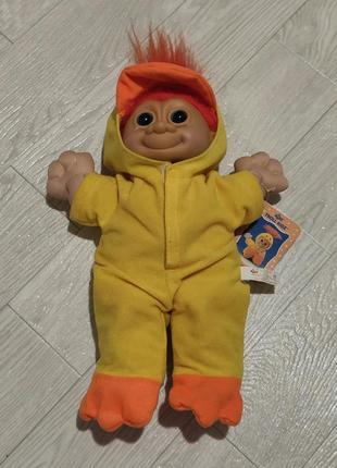 "Vintage troll kidz russ berrie trolls 12"" doll in chick chicken costume 1990s"