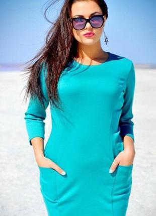 Платье из плотного материала бирюзового цвета размер 36