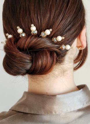 Шпильки для волосся бежево-кремові 1шт