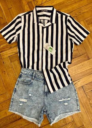 Хлопковая летняя рубашка в полоску
