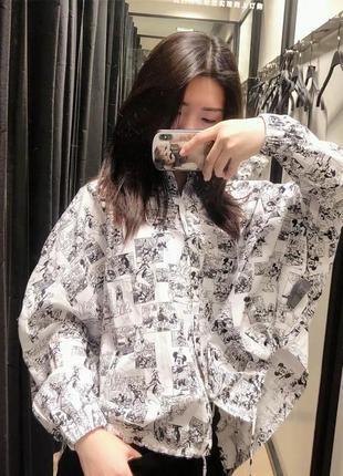 Рубашка оверсайз «микки маус» zara