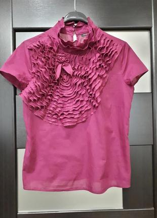 Романтичная красивейшая бордовая блузка блуза топ с жабо comma