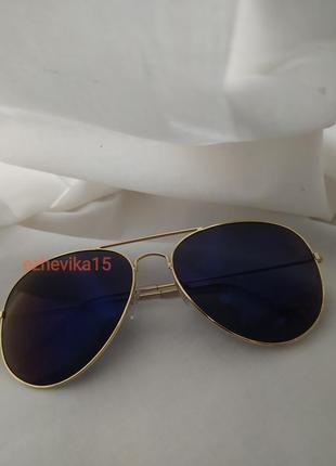 Солнцезащитные очки авиаторы хамелеоны синие стекла фиолетовые стекла