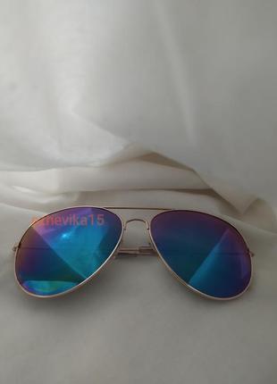 Стильные солнцезащитные очки авиаторы хамелеоны радужные очки