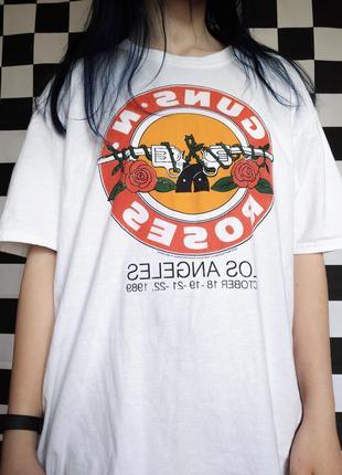 Белая рок футболка guns'n roses, ганс энд роузес, ганзен роузес, guns roses