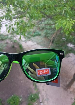 Крутые очки унисекс вайфареры ray ban зеркальные зеленые