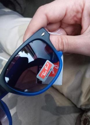 Синие очки с комбинированной оправой вайфареры унисекс