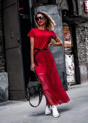 Стильное платье из вискозы с евросеткой