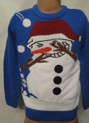 Вязаный новогодний свитер синий со снеговиком, 7 лет, кофта, джемпер