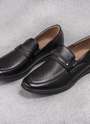 Натуральная кожа стильные черные мужские туфли с перфорацией летние