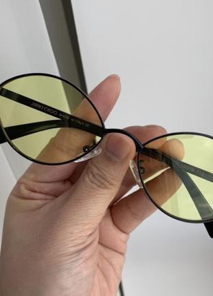 Очки мода тренд желтые узкие отвальные