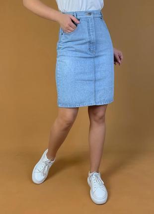 Джинсовая юбка высокая посадка винтаж walder.