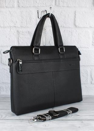 Сумка мужская для документов, портфель armani 6618-3 черный, 38*29*8 см