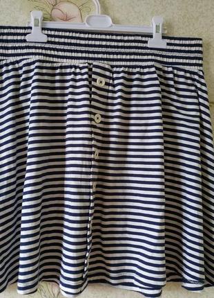 Летняя полосатая юбка на широкой резинке большого размера tu