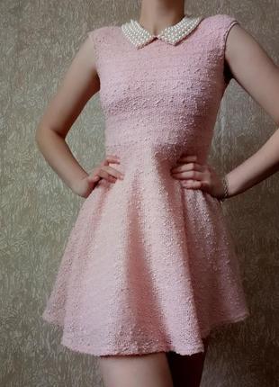 Розовое платье платье с ожирельем короткое платье в стиле шанель жемчуг юбка солнце