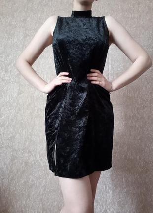 Чернофе платье без рукав платье с горлом платьей трапеция велюровое платье