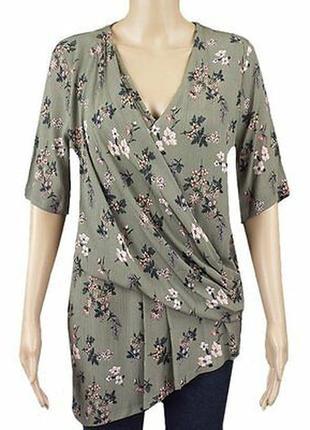 Шикарная асимметричная блуза-футболка хаки