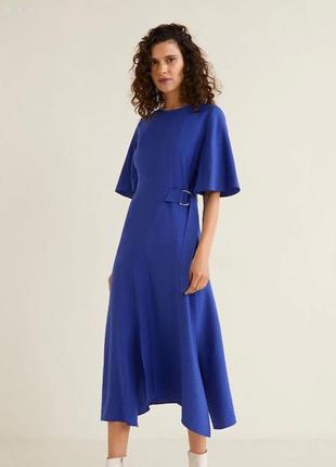 Платье миди  длинное с поясом синее mango оригинал