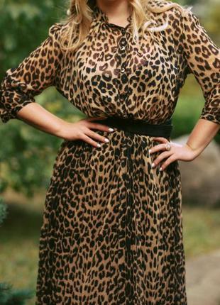 Шикарное длинное шифоновое платье в пол