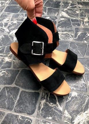 Чёрные босоножки р34-42 замшевые сандалии чорні босоніжки замшеві сандалі