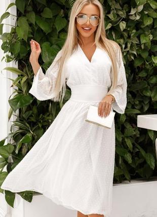 Белое платье шифон