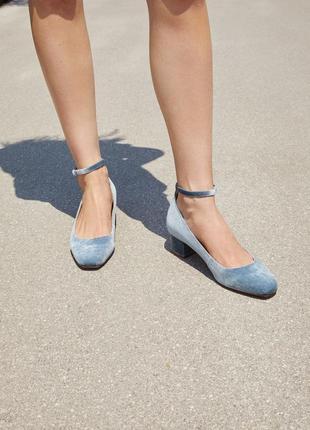 Бархатные туфли с ремешком mango 38 туфлі босоніжки