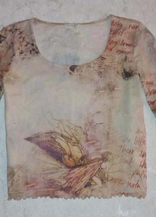 Стильная трендовая кофта блуза с принтом тату сеточка ангелы буквы