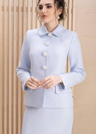 Твидовый юбочный костюм в стиле шанель классический голубой юбка пиджак