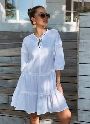 Летнее свободное белое платье для беременных