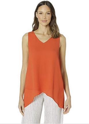 Блуза-майка с v- вырезом оранжевая topshop