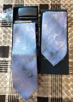 Набор галстук платок зажим запонки