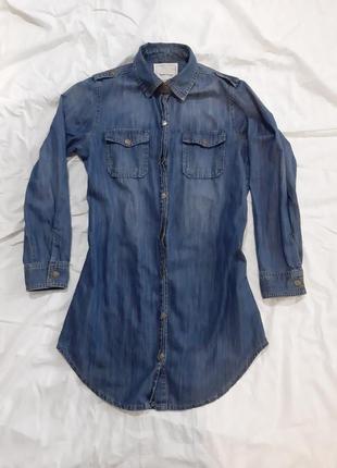 Удлиненная джинсовая рубашка,  джинсовый кардиган
