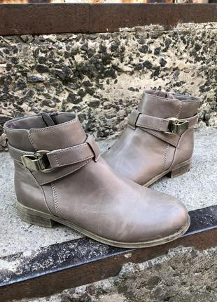 Женские демисезонные бежевые/коричневые сапоги/ботинки