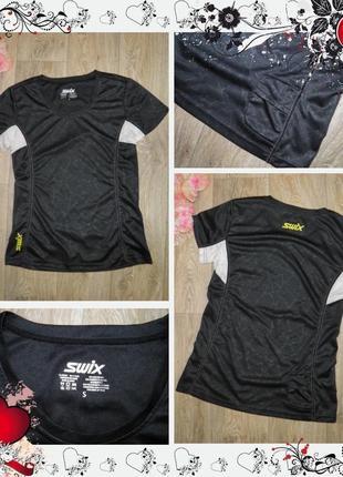 Обнова! спортивная футболка для фитнеса swix (сзади карманчик)