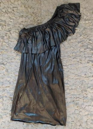 Платье металлика на одно плечо