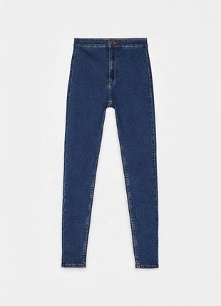 Высокие узкие синие джинсы с высокой посадкой скинни / skinny bershka/ купить цена