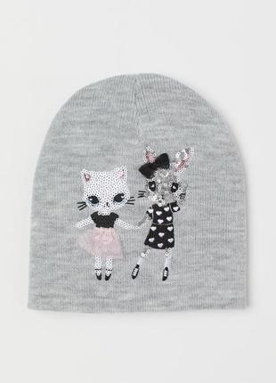 Двойная, двійна, шапка, шапочка, для девочки, для дівчинки, h&m