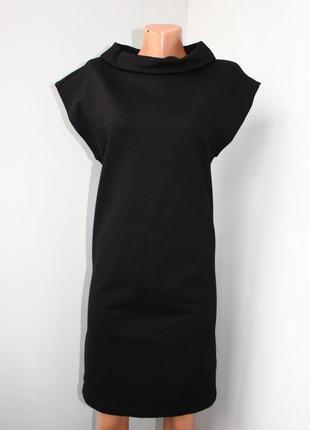 Платье туника плотный трикотаж черное с воротом-хомутом, как жилет, турция, l