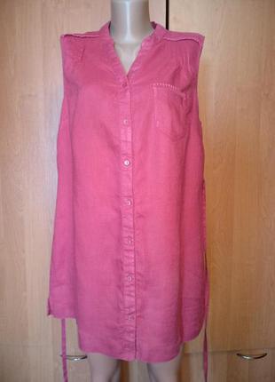 Шикарная льняная удлиненная рубашка туника лён пог 52 см