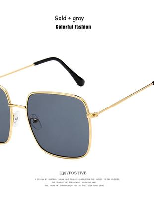 Очки солнцезащитные солнце стильные линза темные золотая оправа новые2 фото