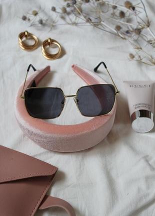 Очки солнцезащитные солнце стильные линза темные золотая оправа новые7 фото