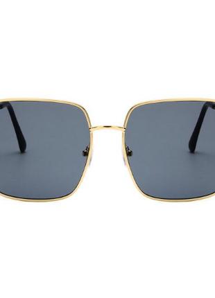 Очки солнцезащитные солнце стильные линза темные золотая оправа новые3 фото