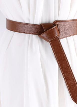 Ремень ремінь пояс длинный ассиметричный коричневый на талию качественный эко кожаный