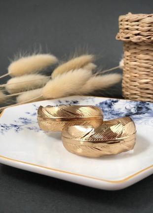 Серьги кольца круглые конго бижутерия перо