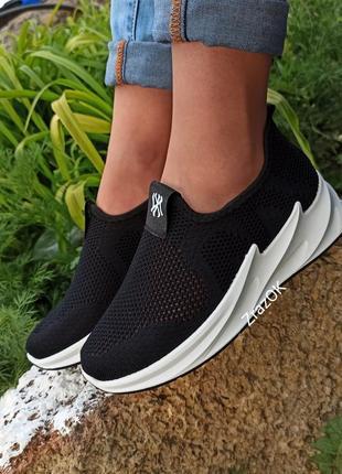 Черные кроссовки мокасины слипоны shark текстиль сетка