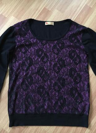Свитшот кофта свитер с кружевом не zara
