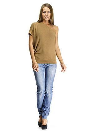 Трикотажная блуза на одно плечо ( майка топ )